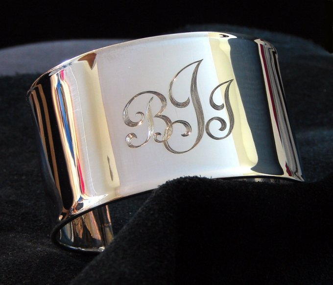 sterling silver Cuff bracelet with hand engraved fancy monogram