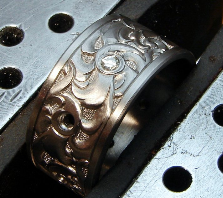 Engraved Titanium 12mm Band with Diamonds