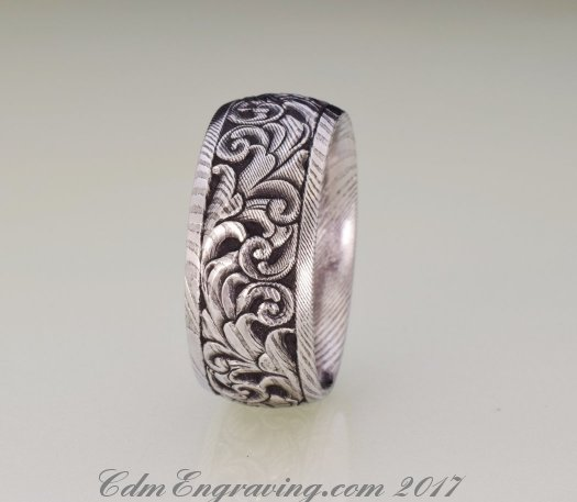 Hand engraved 10mm damascus wedding band