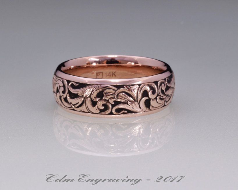 hand engraved 14k red gold