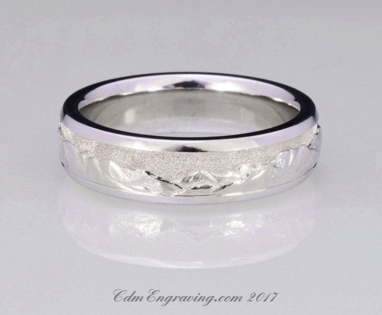 Hand Engraved Colorado Mountain Range Wedding Band in 14K White Gold
