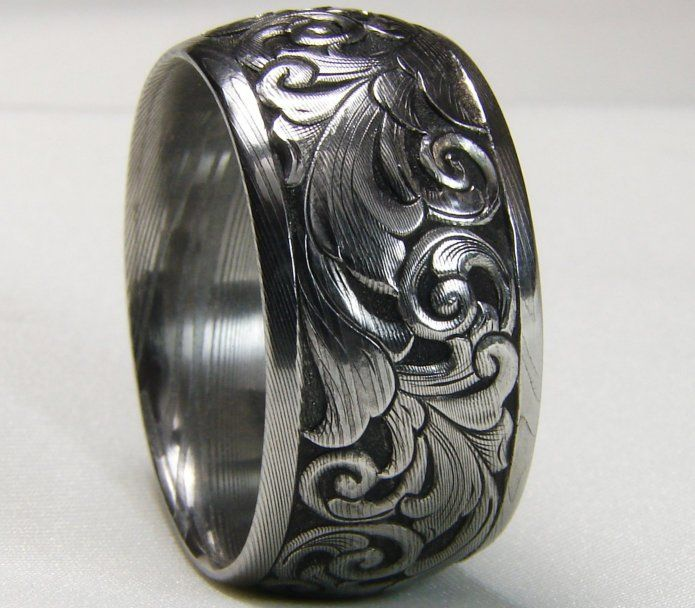 Hand engraved 12mm damascus wedding band