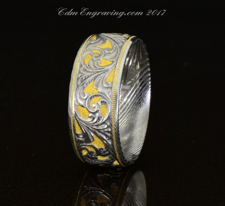 9mm, gold and damascus hand engraved wedding band