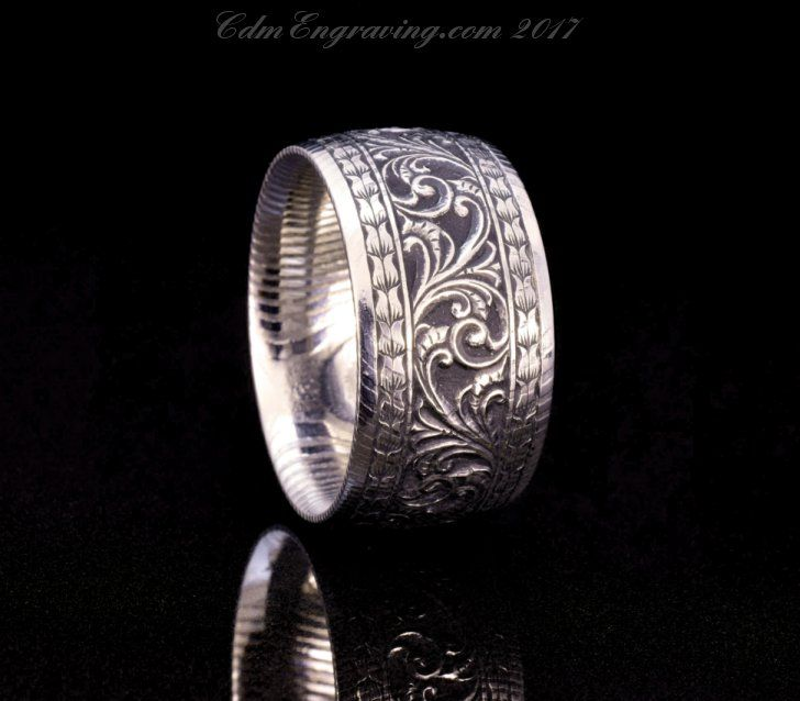 Hand engraved damascus steel wedding band