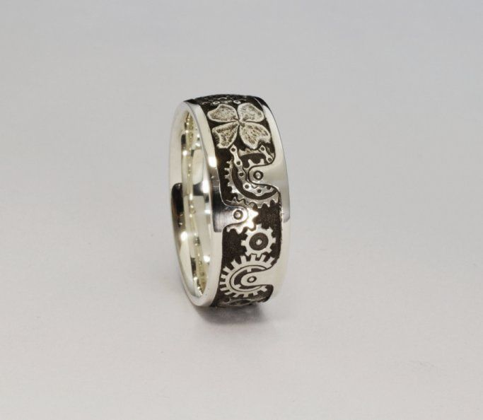 Hand engraved steampunk wedding band