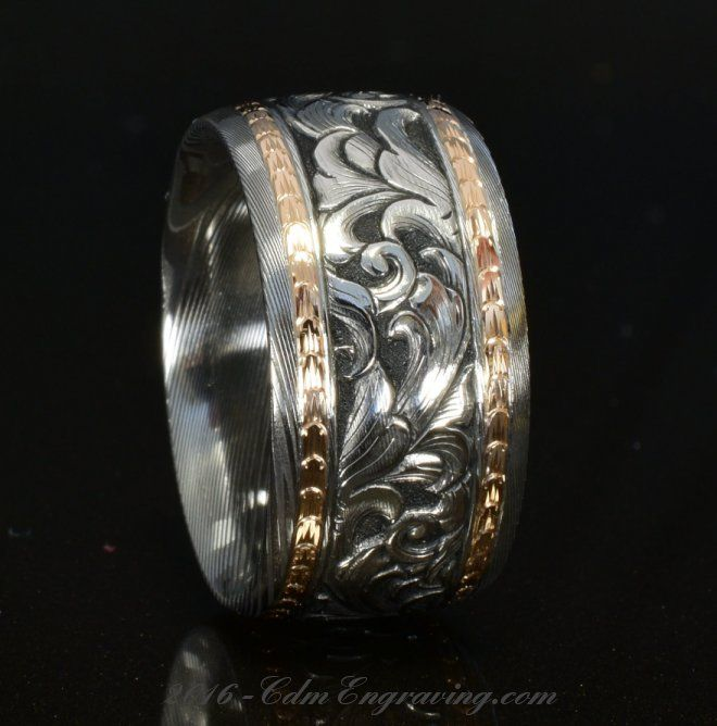 12mm damascus and rose gold wedding band