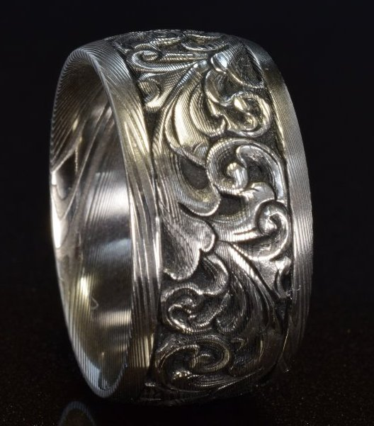 12mm hand engraved damascus band