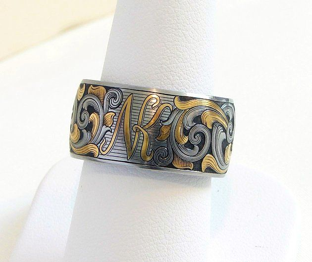 Hand engraved, 12mm, gold inlay wedding band
