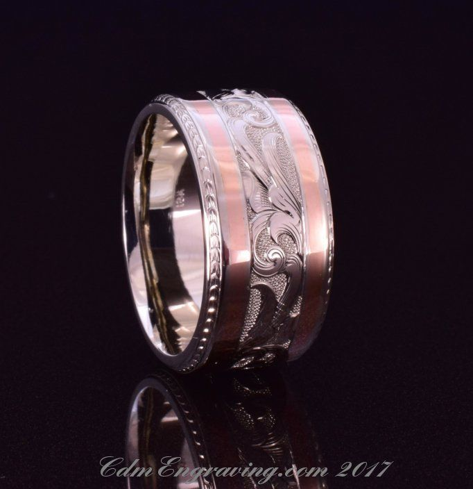 Hand engraved wedding band in 18k white and rose gold