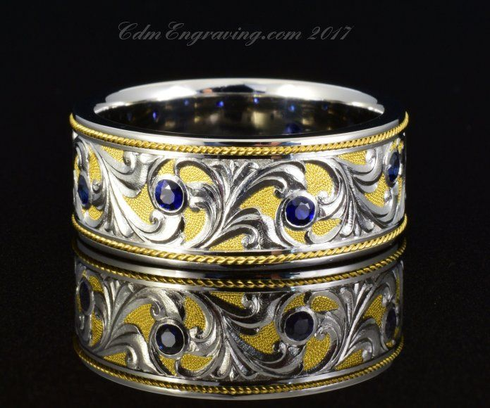 Hand Engraved 10mm Palladium 950, sapphires and 24k gold