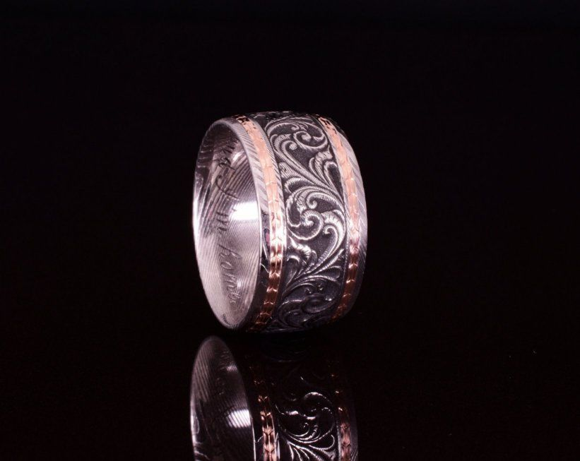 Hand engraved, 12mm damascus & 18k rose gold wedding band