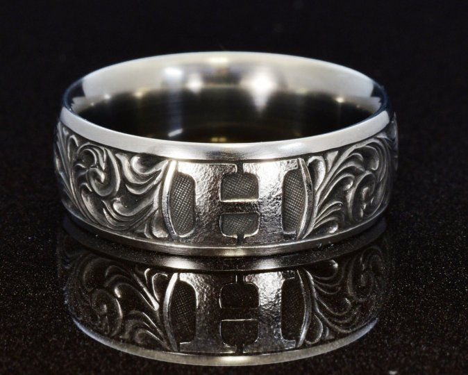 hand engraved stainless monogrammed wedding band