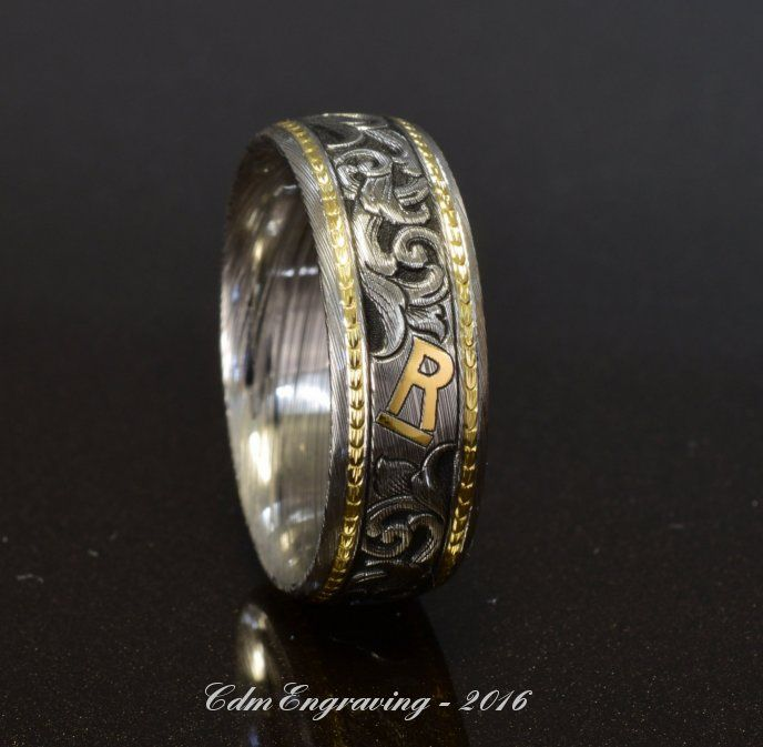 Hand engraved wedding band with cattle brand - damascus with 18k and 22k gold