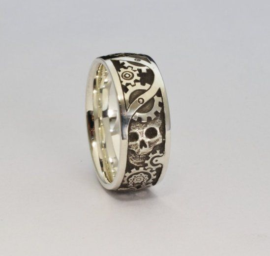 Hand engraved steampunk wedding ring